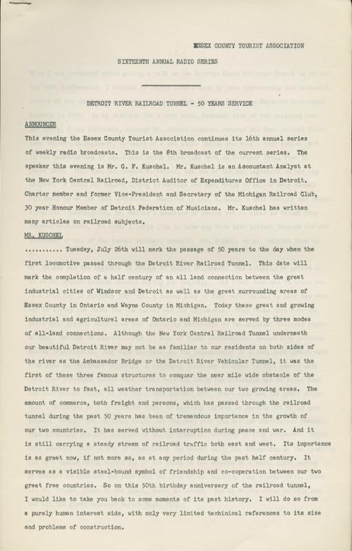 Radio Transcript - Detroit River Railroad Tunnel