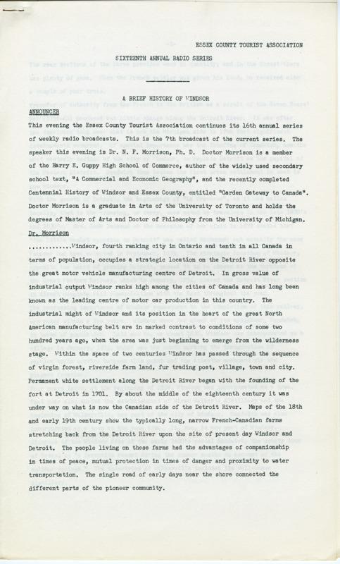 Radio Transcript - A Brief History of Windsor