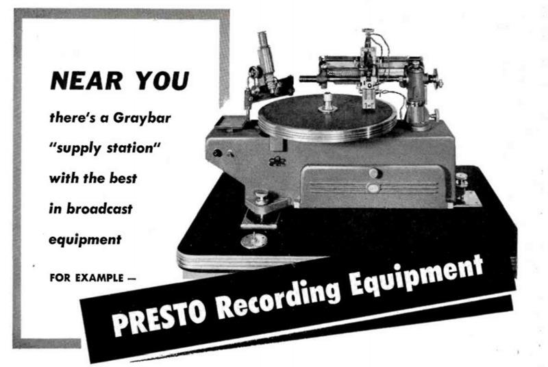 Presto Ads. on recording equipment