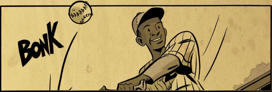 Cartoon of baseball player getting a big hit