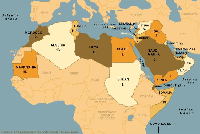 Arab World Map Map of Arab World · Walking Through Windsor/Essex Arab World Map