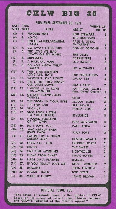 Big 30 Hits of 20 September 1971
